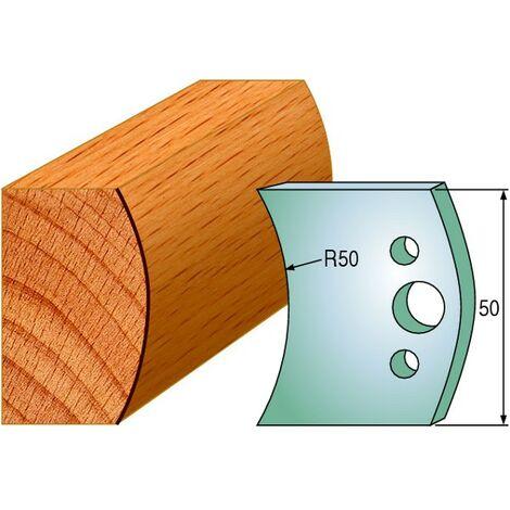 559 : Jeu de fers demi rond R = 50 mm ( 50 x 4 mm ) porte outils toupie