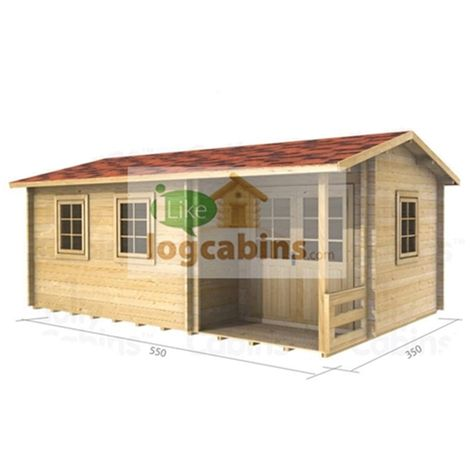 5.5m x 3.5m (18ft X 12ft) Log Cabin (2114) - Double Glazing (44mm Wall Thickness)
