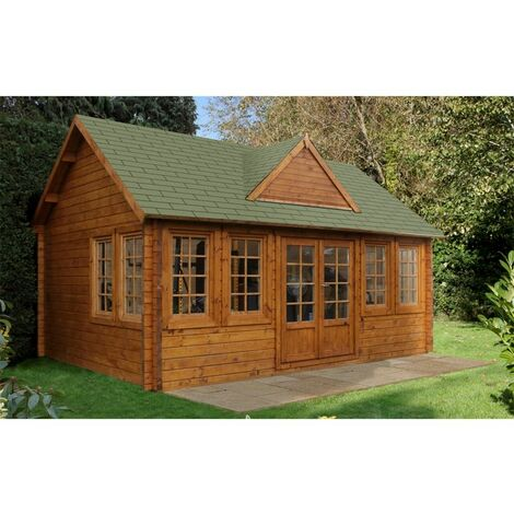 5.5m x 4.0m Reverse Log Cabin + 8 Windows - 44mm Wall Thickness **Includes Free Shingles**