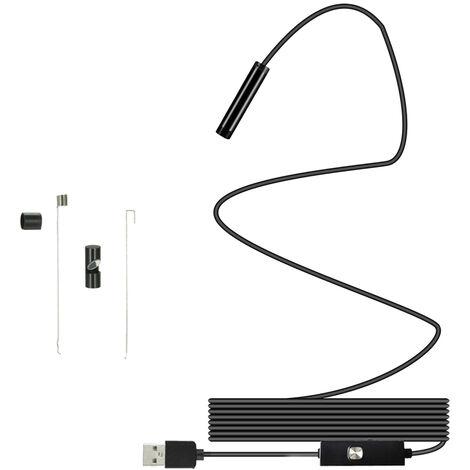 5.5MM 6 LED Lente Endoscopio IP67 Inspeccion a prueba de agua Boroscopio Alambre 5M Tubo de serpiente Camara Interfaz USB Android / Type-C / PC 3 EN 1 USB, Negro