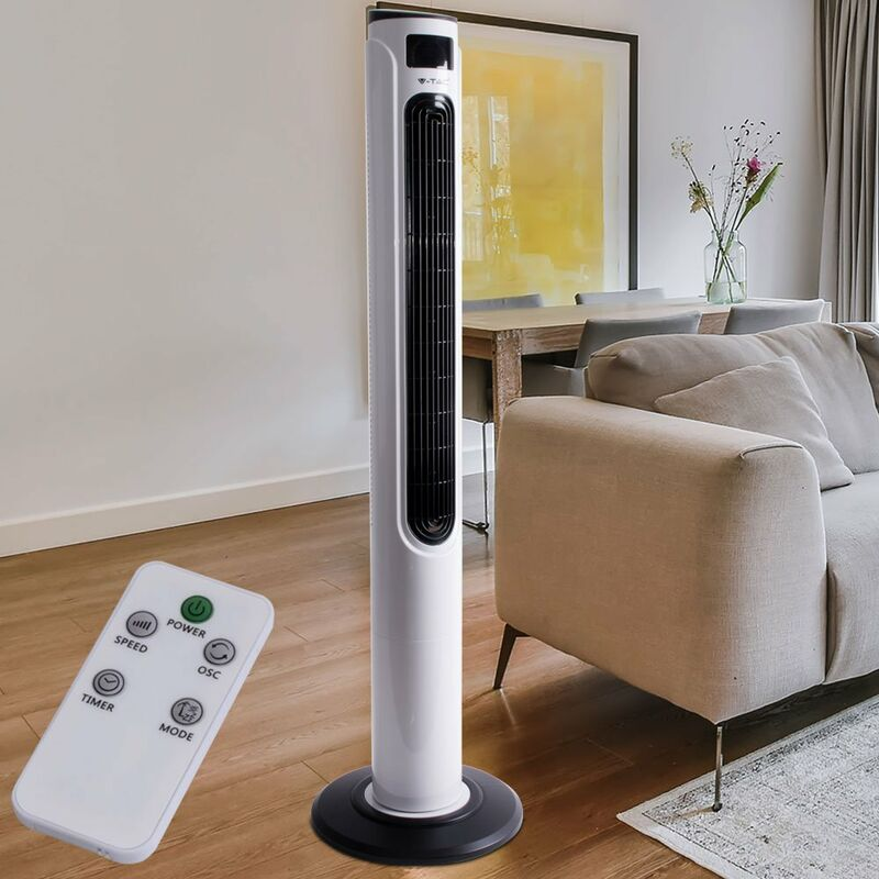 Etc shop 55W colonna pilastro ventilatore bianco REMOTE CONTROL ventilatore a torre timer 70 ° V TAC 790
