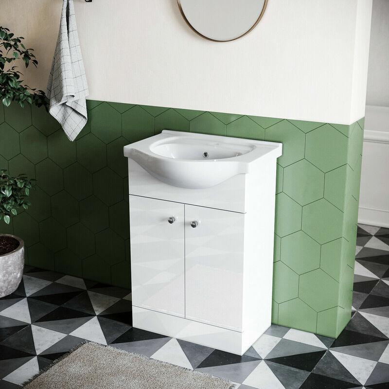 Sonni - 560mm Badmöbel Set Waschbecken Mit Unterschrank Waschtisch Badschrank Weiß