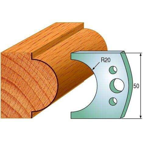 561 : Jeu de fers demi rond R = 20 mm ( 50 x 4 mm ) porte outils toupie