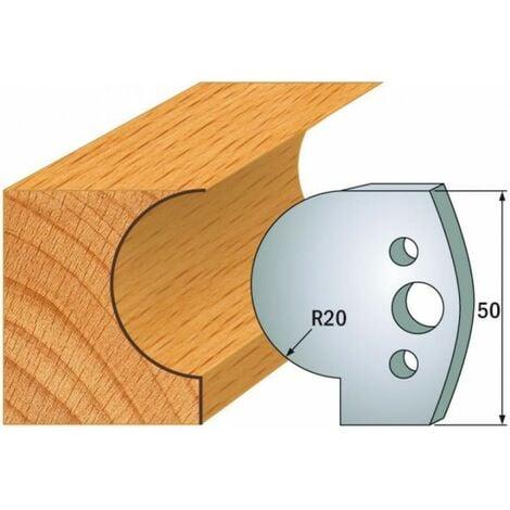 562 : Jeu de fers congé R = 20 mm ( 50 x 4 mm ) porte outils toupie