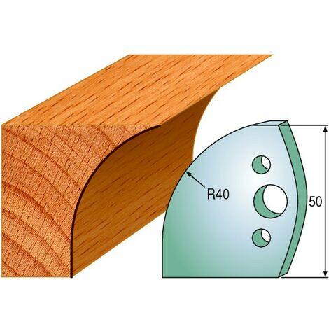 565 : Jeu de fers congé R = 40 mm ( 50 x 4 mm ) porte outils toupie