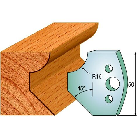 569 : Jeu de fers chanfrein / 1/4 de rond ( 50 x 4 mm ) porte outils toupie