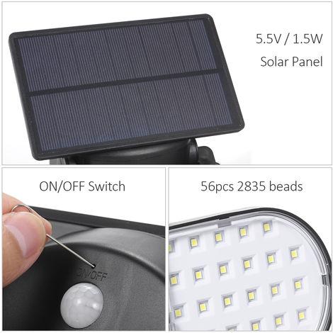 56LED luces solares con dos cabezas ajustables Focos 360 grados giratoria PIR lempara de pared del sensor de movimiento al aire libre IP65 resistente al agua para Yard Jardin Garaje Patio Porche