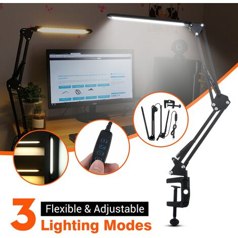 56LED USB moderne Flexible bras pivotant lampe de pince LED Table lampe de bureau lampe à coté de la lampe veilleuse