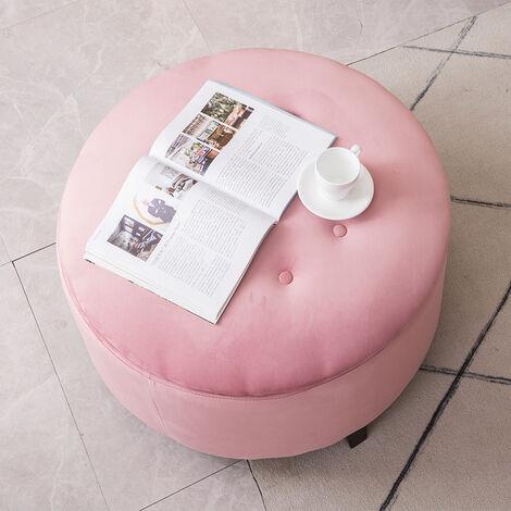 57CM Round Velvet Storage Footstool, Pink