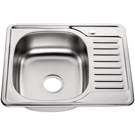 58CM Acier inoxydable, évier à encastrer carré + égouttoir, évier cuisine , plonge, bac d'évier