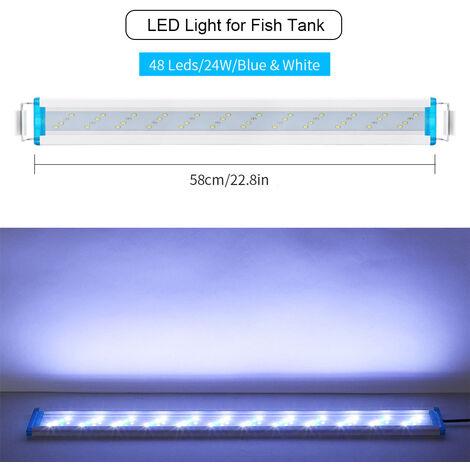 58cm luz del acuario del LED / 22.83in Fish Tank luz LED extensible 5.12in Soportes blanco rojo para tanques de agua dulce plantados, blanco, XXL
