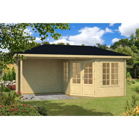 5.8m x 3m Budget Apex Log Cabin + Porch (222) - Double Glazing (40mm Wall Thickness)