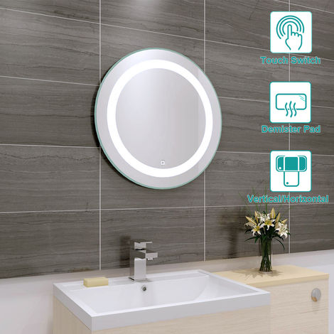 590mm Bathroom Round Illuminated LED Mirror with Demister Pad(Type C)