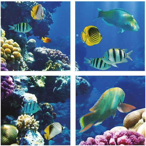 595x595 3D Marine Ocean with Fishes Design LED Panels, 40W with EMC Flicker Free Driver, 4 pcs set, 6500K