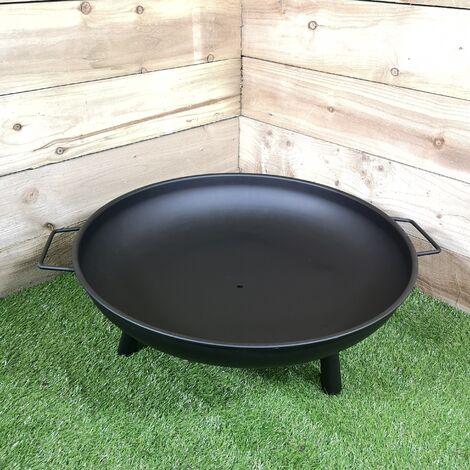 "59cm / 23"" Round Metal Fire Pit Basket Garden Patio Wood Solid Fuel Burne"