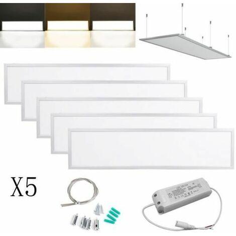 5×Anten 40W Dalle LED 120×30CM Dalle Lumineuse LED pour Plafond Blanc Chaud 2800K