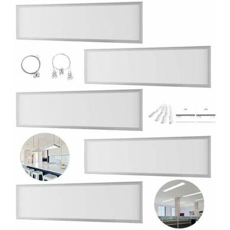 5×Anten Panneau Dalle LED 40W 30×120CM Dalle LED Lumineuse Plafond Blanc Froid 6000-6500K