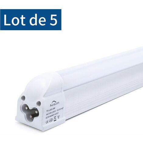 5×Auralum T5 Tube LED 60CM Tube de Lumière Fluorescente 8W avec Réglette Complète Blanc Froid 6000K IP20