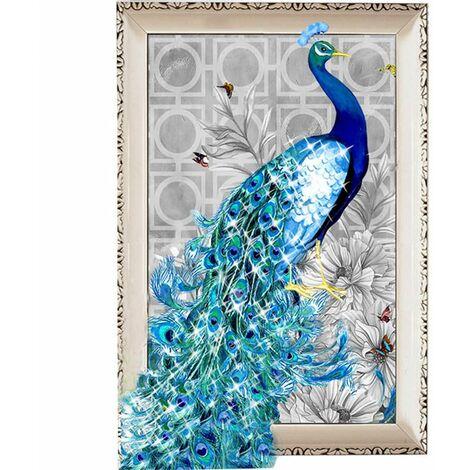 5D Diamant Broderie Peinture Bricolage Bleu Paon Point Artisanat Décor à La Maison Hasaki