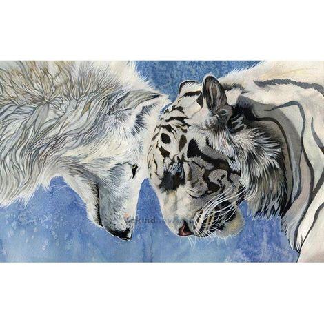 5D Diamant Peinture Tigre Loup Bricolage Broderie Point De Croix Artisanat Décor À La Maison Art