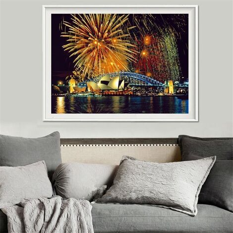 5D diamante pintura Sydney fuegos artificiales bordado Cruz Craft Stitch Home Decor US