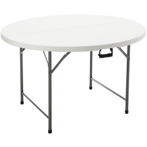 5ft Round Folding Heavy Duty Outdoor Trestle Party Garden Table White