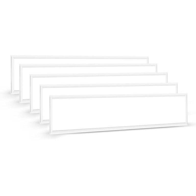 5×LED Panel 60W Hängeleuchte Deckenleuchte Deckenlampe, 4000 lumen, Tageslichtweiß-6000K, rechteckig 30x120CM, IP20, mit Befestigungsmaterial und LED