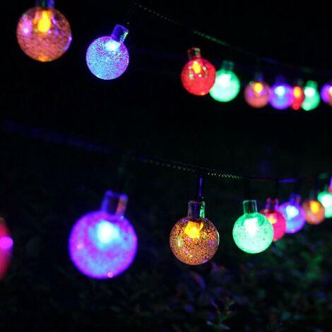 5M 20 LEDS chaîne lumineuse solaire, boule d'éclairage extérieur blanc, chaîne lumineuse extérieure Lumières de Noël étanches pour la fête, Noël, extérieur, décoration de la maison (couleur)