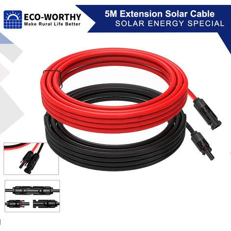 5m Câble solaire Câble MC4 Connecteur Panneau 4mm² Câble d'extension pour kit de panneau solaire