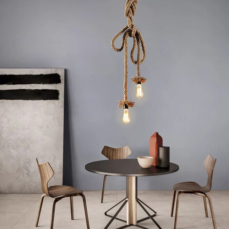 5M E27 Hemp Rope Double Head Vintage Hanging Pendant Ceiling Light Lamp Industrial Retro Country Style Dining Hall Restaurant Bar Cafe Lighting