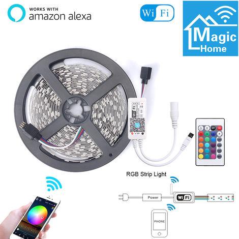 5M inteligente luz Tiras WIFI Control de color RGB LED que cambia de 5050 Compatible con Amazon Alexa sincronizacion de musica para salas de fiesta decoracion de la barra impermeable enchufe de la UE