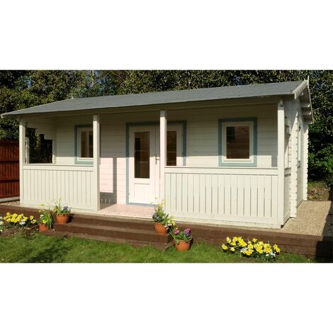 5m x 4m Reverse Log Cabin + Integral Veranda - 44mm Wall Thickness **Includes Free Shingles**