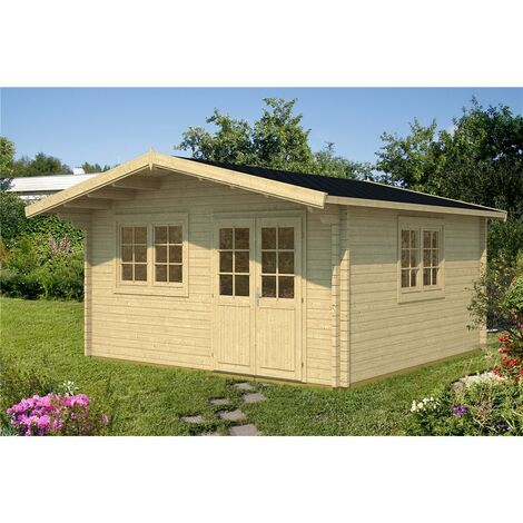 5m x 5m Budget Apex Log Cabin (210) - Double Glazing (40mm Wall Thickness)