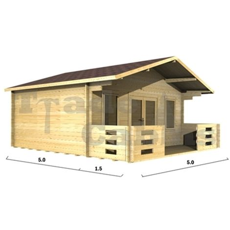 5m x 5m Log Cabin (2094) - Double Glazing (70mm Wall Thickness)