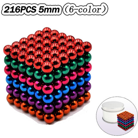 """main image of """"5mm 216 PCS 6 Colors Magnetic Balls Magnets Office Toy Magnetic Sculpture Backyballs Gift for Intellectual Development Stress Relief,model:Multicolor"""""""