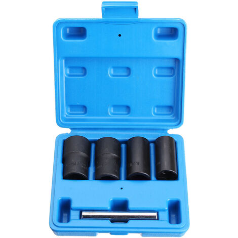 5PC 17mm 19mm 21mm 22mm Car Wheel Nut 1/2'' DR Impact Twist Socket Set Remove Rounded Nuts Bolts Studs
