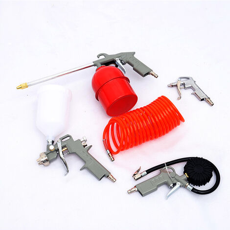 5PC Air Compressor Tool Kit Blow/Spray/Oil Gun/Tyre Inflator Hose Pressure Gauge