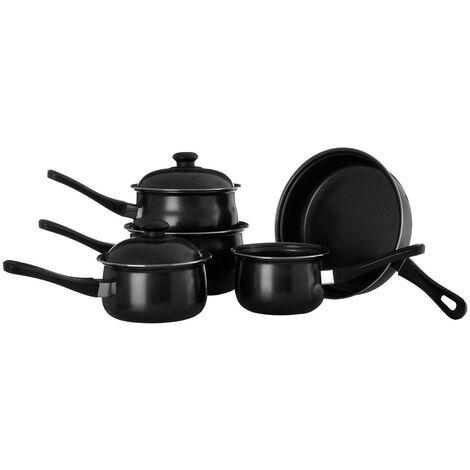 5pc Black Cookware Set,Non-Stick Carbon Steel,Bakelite Handles