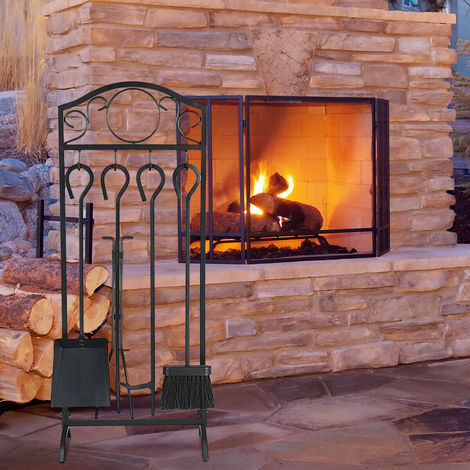 5pc Fire Companion Set Fireside Fireplace Modern Tools Home Gift Present Black