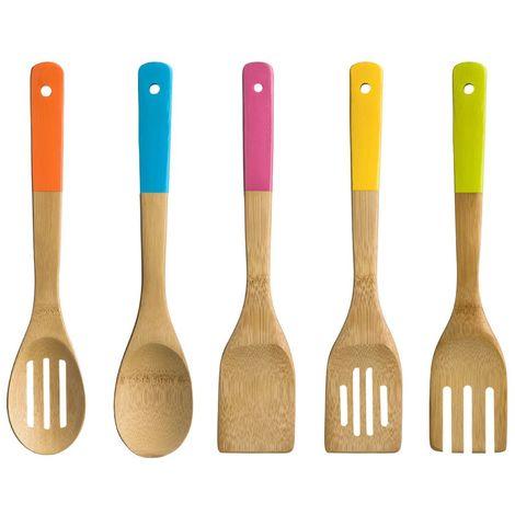 5pc Kitchen Utensil Set,Bamboo/Coloured Handles
