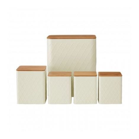 5pc Rhombus Storage Set, Bamboo Lid, Cream Metal