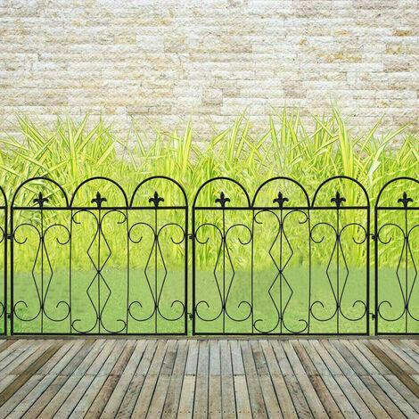 "main image of ""5pc Rustproof Metal Garden Fencing Panel Animal Barrier Folding Edge Wire Border"""