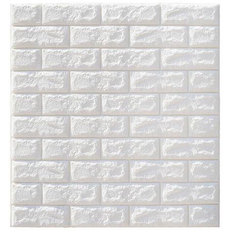 5PCS 3D Sticker Autocollant Mural - Bricolage Brique Mousse Papier Peint Imperméable - 70x77CM - Blanc