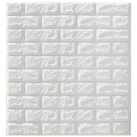5PCS 3D Sticker Autocollant Mural - Bricolage Brique Mousse Papier Peint Impermeable - 70x77CM - Blanc