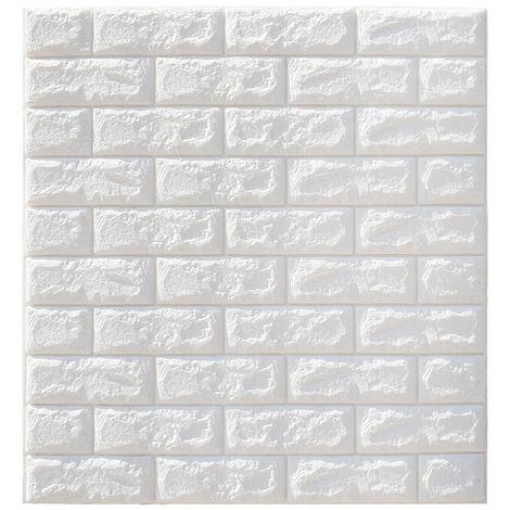 5PCS 3D Wall Sticker Sticker - DIY Brick Foam Waterproof Wallpaper - 70x77CM - White