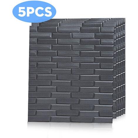 5pcs 8MM 70*77cm 3D Tile Brick Wall Sticker Wallpaper grey