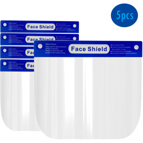 5pcs Anti-fog Adjustable Full Face Shield Windproof Dustproof Hat Full Face Shield