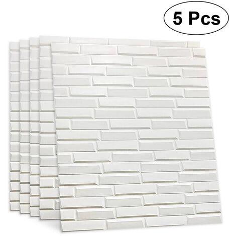 5pcs autoadhesivo 3D etiqueta de la pared mágica impermeable azulejo oblicuo pared de ladrillo calcomanía 70x77cm blanco