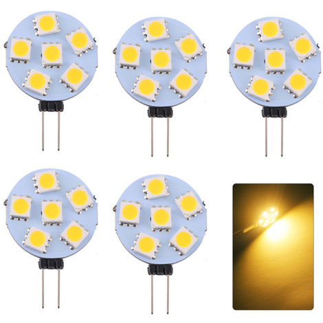 5Pcs Base G4 Lampes 6Light Diode Electroluminescente Smd 5730 180Lm Economie D'Energie Pin Lampe Dc12V (Blanc Chaud)