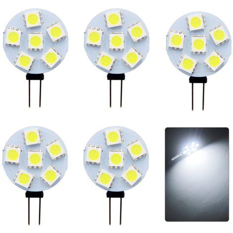 5Pcs Base G4 Lampes 6Light-Diodes Electroluminescentes Smd 5730 180Lm Economie D'Energie Pin Lampe Dc12V (Blanc Froid)